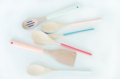 A family of pastel dipped wooden spoons. From House of Earnest // The wild child of Ombre and Color Blocking? Dipping. Dipping objects in paint adds a stylish update to tired objects and a sassy element to new ideas. Curated by Summer Robertson of House & Hold // KIRTSY slideshow