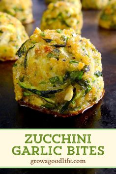 This tasty zucchini garlic bites recipe combines shredded zucchini with garlic Parmesan cheese fresh herbs and is served with a marinara dipping sauce for an Italian inspired twist. Zuchinni Recipes, Veggie Recipes, Appetizer Recipes, Vegetarian Recipes, Dinner Recipes, Cooking Recipes, Healthy Recipes, Zucchini Balls Recipe, Zuchinni Bites