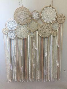 Doily Boho Dreamcatcher Multi Ring // Wood by bohodreamscompany