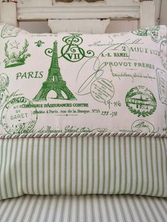 Green Apple Ticking  French Inspired Decorative Pillow