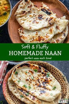 Soft and fluffy Homemade Naan tastes just like the one from your favorite Indian restaurant! Pairs so well with a creamy curry or dal! #naan #indianfood Indian Snacks, Indian Food Recipes, Asian Recipes, Vegetarian Recipes, Cooking Recipes, Indian Appetizers, Rice Recipes, Cooking Tips, Recipes With Naan Bread