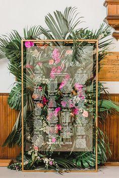 Acrylic #Tropical #Seating #Chart #Wedding #Inspiration #| #Citrus #Press #Co