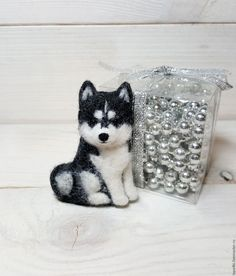 Купить брошь Хаски карие глазки - чёрно-белый, хаски, хаски из шерсти, собака, собачка