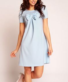 Look at this #zulilyfind! Blue Bow A-Line Dress by Nommo #zulilyfinds