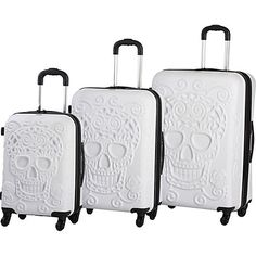 IT Luggage Skull Emboss 3 Pc Spinner Luggage Set Hardside Luggage NEW #ITLuggage