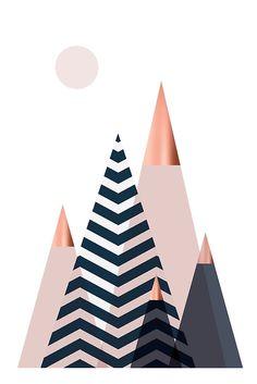'Scandinavian Mountains' Art Print by UrbanEpiphany - CamyDiem art - wallpaper iphone Rose Gold Wallpaper, Geometric Wallpaper, Geometric Art, Wallpaper Backgrounds, Motif Art Deco, Most Beautiful Wallpaper, Scandinavian Art, Mountain Art, Printable Wall Art