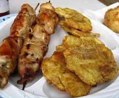 Pinchos con Tostones.love me some puerto rican food!