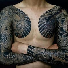 What does irezumi tattoos mean? We have irezumi tattoos ideas, designs, symbolism and we explain the meaning behind the tattoo. Japanese Chest Tattoos, Japanese Tattoo Art, Japanese Tattoo Designs, Tatuajes Irezumi, Irezumi Tattoos, Badass Tattoos, Body Art Tattoos, Tattoos For Guys, Tribal Chest Tattoos
