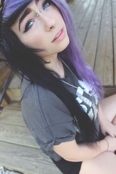 This is how I want my hair to be colored someday and I like her bridge piercing ^. Emo Scene Hair, Emo Hair, Goth Hair, Punk, Corset, Half And Half Hair, Grunge, Twisted Hair, Alternative Hair