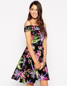 Vesper Posey Bardot Skater Dress in Tropical Print