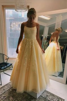 Buy A Line Yellow Tulle Prom Dresses with Lace Appliques, Criss Cross Straps Formal Dresses short long ombre prom, homecoming, bridesmaid evening dresses at Couture Candy Cocktail party dresses, formal ball gowns in ombre colors. Dresses Elegant, Pretty Prom Dresses, Straps Prom Dresses, A Line Prom Dresses, Tulle Prom Dress, Girls Dresses, Formal Dresses, Dress Wedding, Yellow Prom Dresses