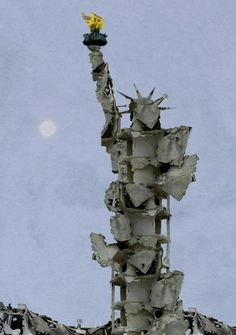 bremmer on 'Statue of Liberty made from bombed rubble of Aleppo by Syrian artist Tammam Azzam. ' 'Statue of Liberty made from bombed rubble of Aleppo by Syrian artist Tammam Azzam. Banksy, Statues, Oncle Sam, Street Art, Guernica, Political Art, Powerful Images, Aleppo, Pablo Picasso