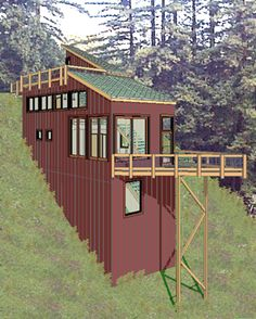 designs for garage apartments with steep hillside | Steep down-slope studio home on a narrow lot.