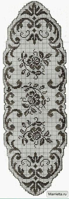 Filet crochet chart for a rose Crochet Table Runner Pattern, Crochet Lace Edging, Crochet Cross, Crochet Flower Patterns, Crochet Art, Doily Patterns, Crochet Home, Thread Crochet, Crochet Designs