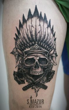 Skull thigh tattoo #TattooModels #tattoo