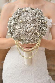 DEPOSIT on Custom Silver Brooch Bouquet Bridal by Mlleartsy