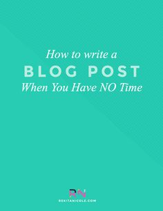 If you are like me, you have absolutely no time! It seems like the moment I  wake up, it is time to go to sleep again. So it is really difficult to  actually sit down and write a blog post. Sometimes my posts stay in draft  mode for weeks. So...Cat Rose from Cat Rose Designhas some great solutions  and tips on how you can write your blog post when you have NO time!