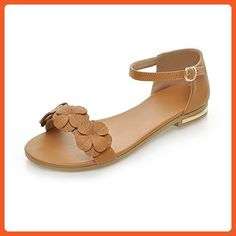 f65f5577d051 WeenFashion Women s Soft Material Open Toe Low-Heels Buckle Sandals with  Floriation