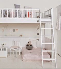 Oliver Furniture Seaside Children's Luxury Loft Bed in White Bedding Inspiration, Room Inspiration, Bedroom Loft, Girls Bedroom, Bedroom Ideas, Bedroom Designs, High Beds, Kids Bunk Beds, Loft Beds