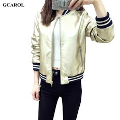 Women New Arrival Faux Leather Jacket Bling Bling Baseball Uniform Euro Style Crop Bomber Jacket Plus Size XL Outfits