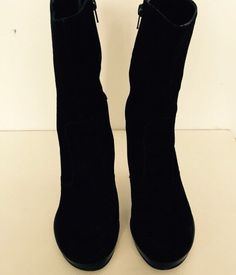 c7174cd0fa55d4 Gianni Bini Womens Girls Black Leather Boots Size 8.5 Excellent Condition  Heels  GIANNIBiNI  FashionMidCalf