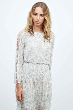 Free People Georgette Long Sleeve Midi Dress in Ivory