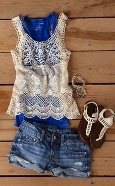 lace tank layered over bright top, cutoffs, sparkly sandals.