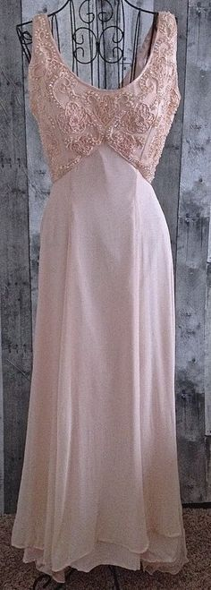 Sequin Beaded Evening Gown Dress Faux Pearl Blush Pink Silk Bra Lined Small #Unbranded #Gown #Formal