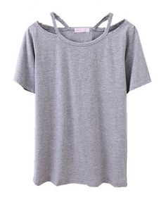 Grey T-shirt with Cut Out Design Neckline $18