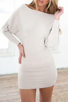 Slash Neck Batwing Sleeve Bodycon Dress