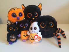RARE BUNDLE OF 6 Ty beanie boo Crawly, Haunt, Moonlight Halloween Soft plush Toy