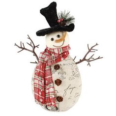 Blossom Bucket Large Standing Snowman with Plaid Scarf Figurine