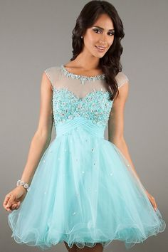 Order this dress , free get $5 COUPON during Mar.30-Apr.29 Light Blue Short Illusion Bateau Empire Tulle Homecoming Dress