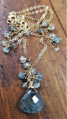 Moss Aquamarine And Gold Necklace Moss Aquamarine Gold
