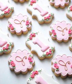 Simple and sweet rose monogram cookies. Fancy Cookies, Iced Cookies, Cute Cookies, Royal Icing Cookies, Cupcake Cookies, Sugar Cookies, Pink Cookies, First Birthday Cookies, Pink First Birthday