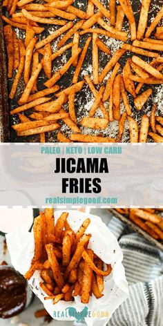 Paleo + Keto jicama fries feel like the greatest low carb fry option! We seasoned them simply and baked them to make for an easy side that really hits the spot! These crunchy, healthy fries will be a new family favorite! Keto Snacks, Healthy Snacks, Healthy Eating, Clean Eating, Paleo Recipes, Low Carb Recipes, Paleo Food, Paleo Keto Diet, Recipes Dinner
