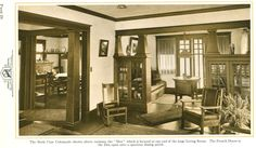 From 'The House Beautiful' 1925. Wow - 2 colonnades! The bookcase colonnades lead to a den at the end of the living room. The french doors in the den open onto a spacious dining porch.