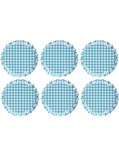 "Vintage Collection Double Sided Bottle Caps 1"" 6/Pkg-Polka Dot Aqua Blue W/White ❤ Notions - In Network"