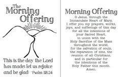 Morning Offering printable prayer cards.