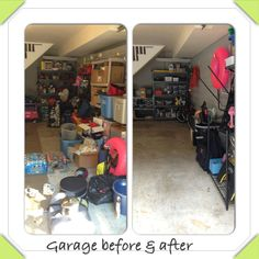 Garage organizing before & after