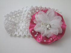 Handmade Newborn Infant Girl Elastic Headband by AnjusCreations