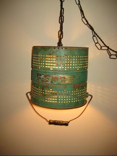 Upcycled Repurposed Green Fishing Minnow Bucket hanging light Industrial Pendant Lamp on Etsy, $145.26 CAD