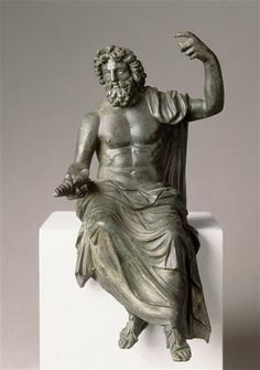 Jupiter (Zeus), Roman statuette (bronze), inspired by original by Phidias,1st-2nd century AD (original 5th c. BC), (Musée du Louvre, Paris).
