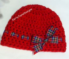 Baby Girl crochet hat RED TARTAN bow winter by KerryJayneDesigns