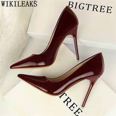 f3d5e6255 Barato Couro sexy de salto alto bombas mulheres sapatos de salto alto  vermelhos sapatos de casamento