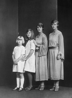 The daughters of H.R.H. Princess Andrew of Greece (L-R) Princess Theodora, Princess Cecilia, Princess Margaret, Princess Sophia on 19 June 1922