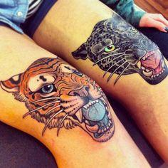panther head & tiger head tattoos