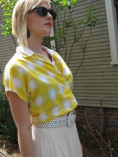 Yellow Plaid Cotton Shirt  Layered Look by YesterDazeVintageFL, $20.00