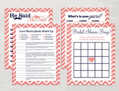 Coral and Navy Printable Bridal Shower Games Set- love quotes, he said she said, bridal shower bingo, he said she said.  Great games to keep bridal shower guests entertained!