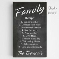 Personalized Family Recipe Canvas Sign- We all love the thought of healthy and cozy recipes.why not one for you and your family? This Personalized Family Recipe Sign is sure to be the recipe to live by for your everlasting love. Made of a quality Personalised Family Tree, Personalised Canvas, Personalized Wall Art, Personalized Products, Family Boards, Family Signs, Family Quotes, Chalkboard Canvas, Blackboard Art